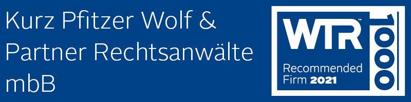 WTR 1000 2021 Kurz Pfitzer Wolf & Partner Markenrecht Marke Rechtsanwalt